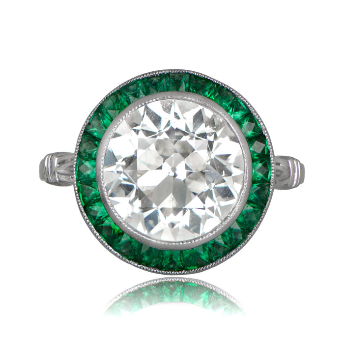 diamond engagement ring with emerald halo estate diamond